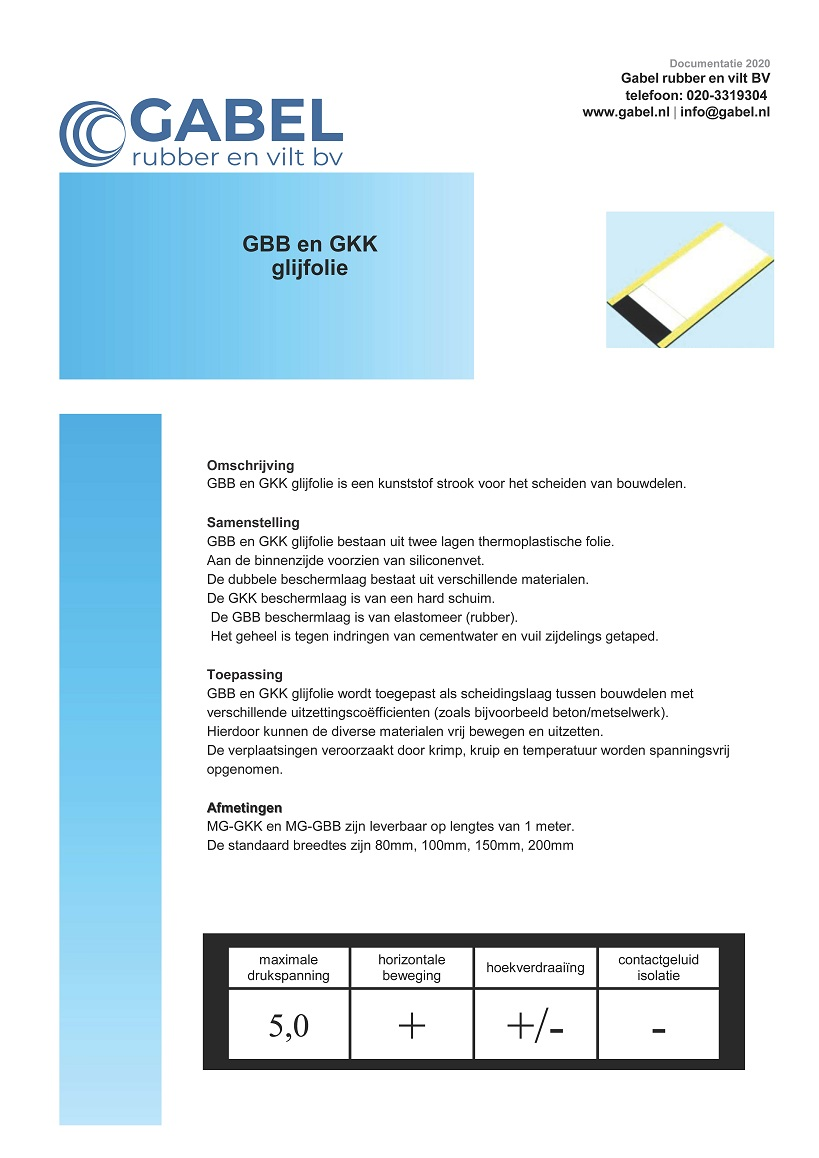 Documentatie Glijfolie GBB-GKK